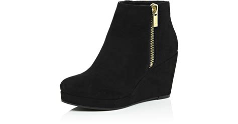 lyst river island black wedge ankle boots in black