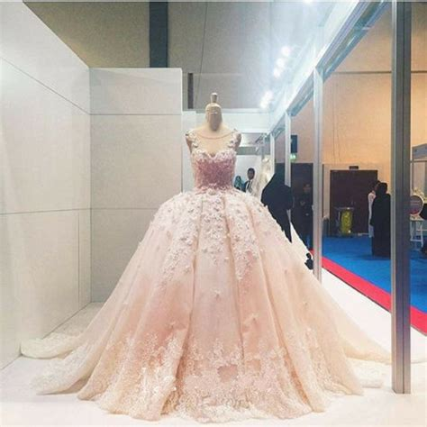 pink luxury flowers wedding dresses lace puffy bridal gown