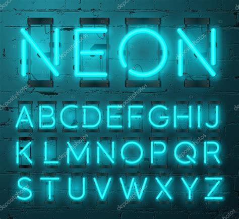 neon light letters font neon light alphabet vector font type letters neon
