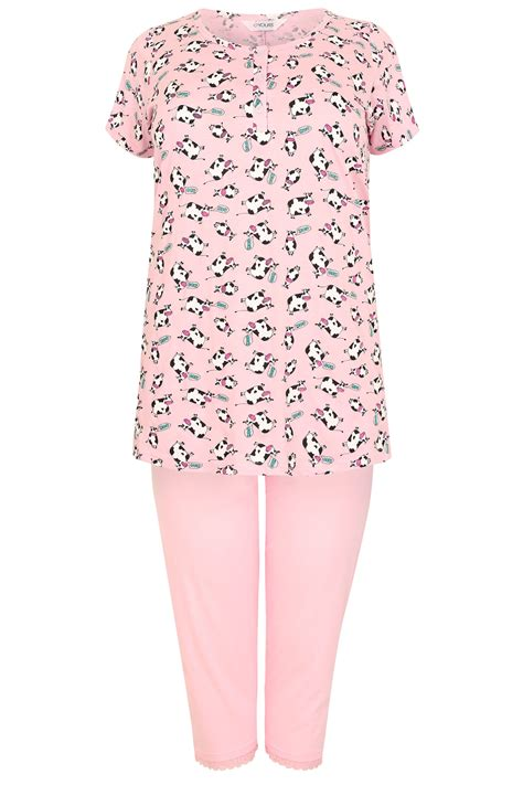 Cow Sweater Pink Ar pink multi cow print t shirt cropped bottoms pyjama