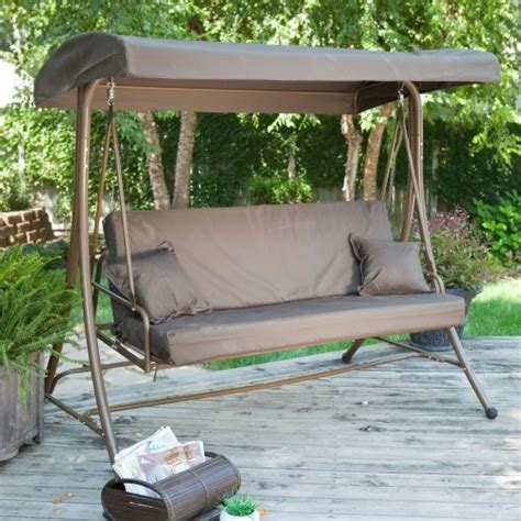 covered patio swing glider siesta 3 person canopy swing bed chocolate traditional