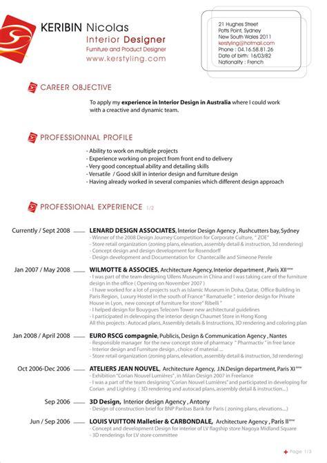 interior designer resume sles giz images resume post 20