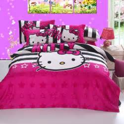 Hello Kitty Bedroom Set Full | black striped with hot pink hello kitty full bedding kids
