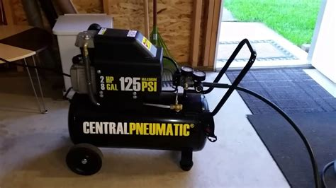 hp  gal air compressor  harbor freight youtube