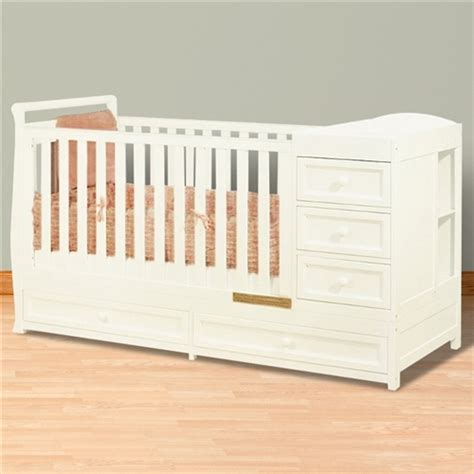 Crib With Changing Table And Drawers Athena 2 In 1 Crib And Changer Combo White