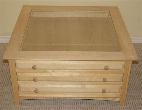 Unfinished Curio Coffee Table 3 Drawers 35 X35 Solid Wood Glass Top Coffee Table With Drawers