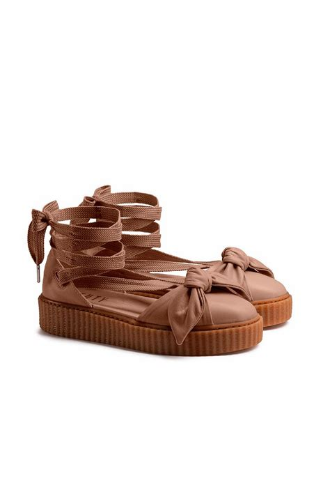 Bow Creepers Sandals Brown lyst bow leather creeper sandals in brown