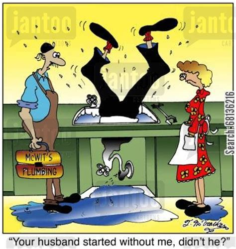 Leaky Kitchen Faucet clogged drain cartoons humor from jantoo cartoons