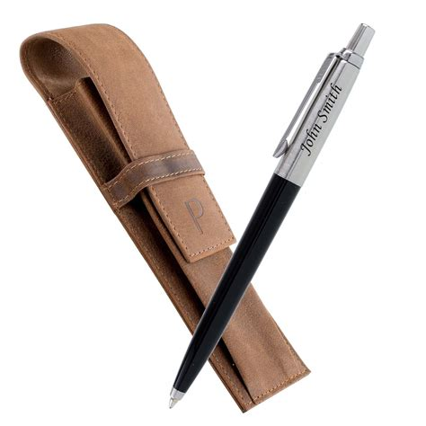 Ballpoint Pen On Leather by Laser Engraved Ballpoint Pen Black With Leather
