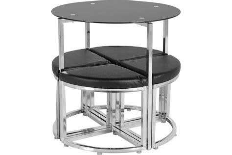 dining table set black glass 4 seater black padded