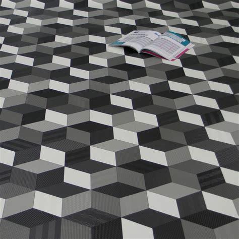 PVC Bodenbelag Cube 3D Würfel Schwarz Weiß Grau   Fantasy