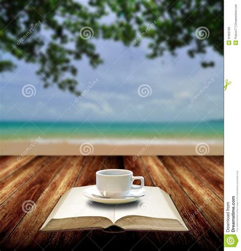 Tropical Beach Theme - drink coffee and read book on the beach stock image image 31902185
