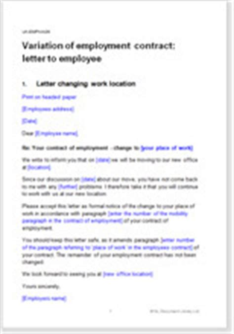 Contract Of Employment Variation Letter Change To Employment Terms Letter To Employee