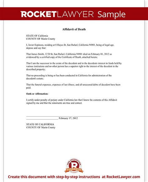 Divorce Letter Affidavit Of Form Affidavit Sle Template