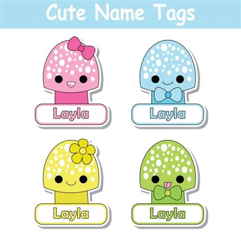 name tag design cartoon character vector cartoon illustration with colorful cute mushrooms