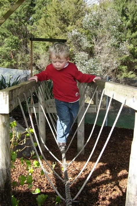backyard rope bridge hold on the two and homemade on pinterest