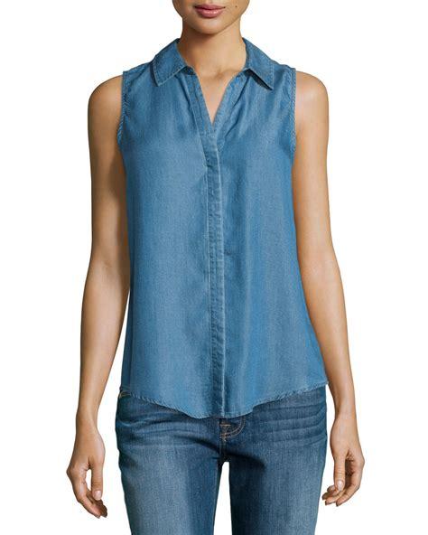 Denim Blouse lyst neiman sleeveless denim blouse in blue