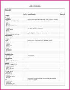 12 event planning worksheet template