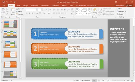 powerpoint use template create animated infographics with info tabs powerpoint