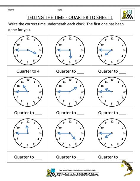 Time To The Hour Worksheets by Clock Worksheet Quarter Past And Quarter To