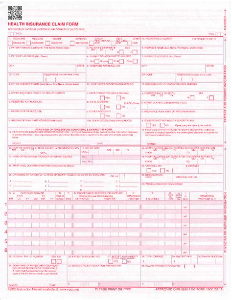 free cms 1500 claim form template hcfa 1500 claim form car interior design