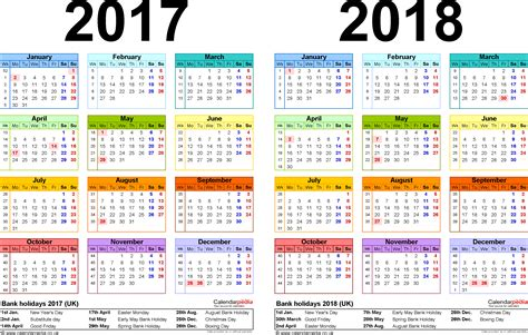 one year calendar template two year calendars for 2017 2018 uk for excel