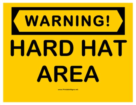 printable hard hat area sign printable warning hard hat area sign