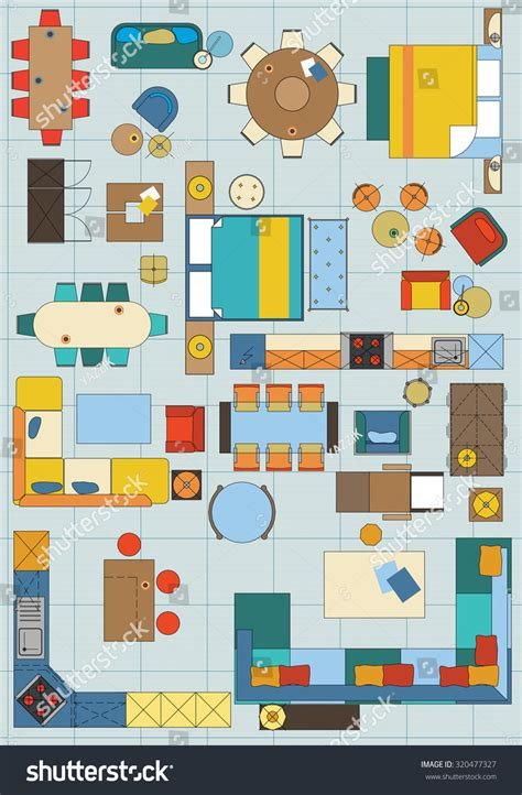 furniture icons for floor plans standard furniture symbols used architecture plans stock