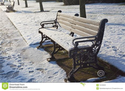 bench in london park bench in snowy london stock photos image 12446603