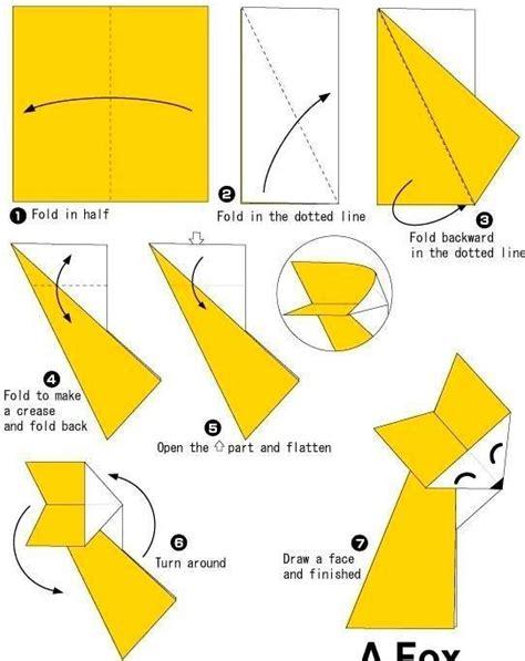 Origami Fox Diagram - simple origami fox folding origami