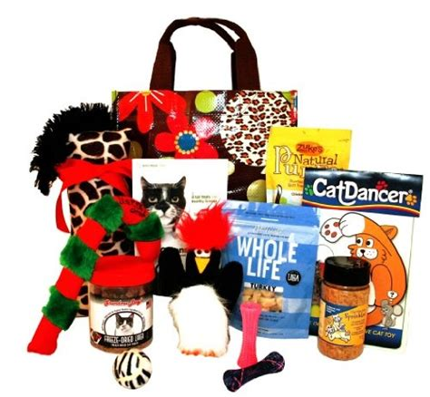 big cat christmas gift basket featuring the yeowww