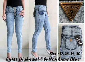 jual celana jegging guess highwaist 5 button snow blue allproduct shop