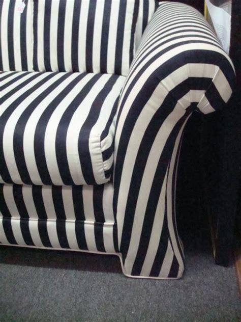 G1520 Setelan Am Stripe Black White black and white striped upholstered sofa
