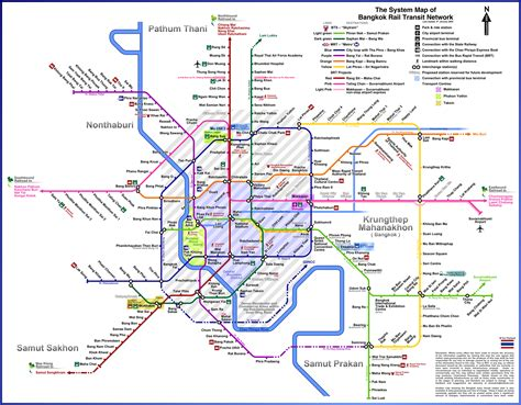 bts thailand bangkok rail transit network map airport line mrt and