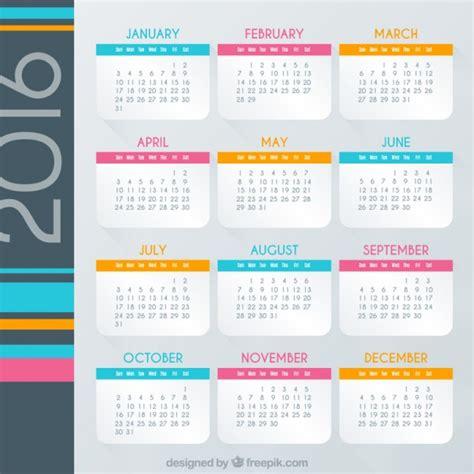 Calendario Colo Calendario 2016 De Colores Descargar Vectores Gratis