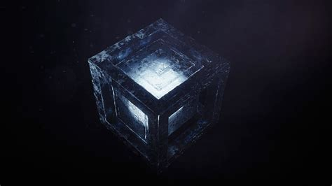 wallpaper cube render cgi dark hd abstract