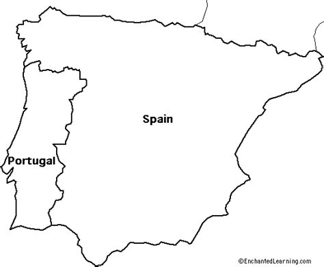 Portugal Map Outline by Blank Map Of Spain And Portugal