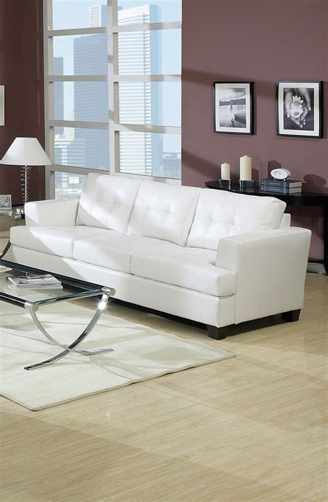 white bonded leather functional sofa sleeper