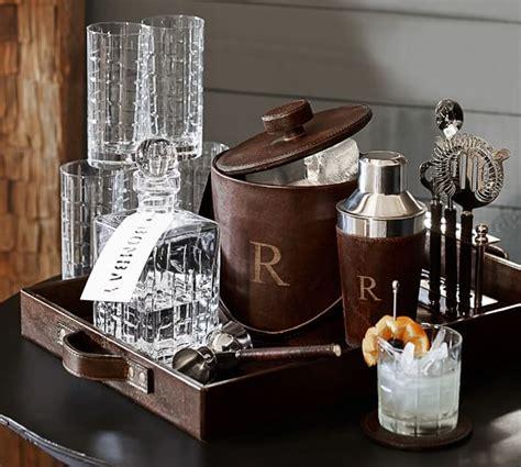 home bar design tool saddle leather tray pottery barn