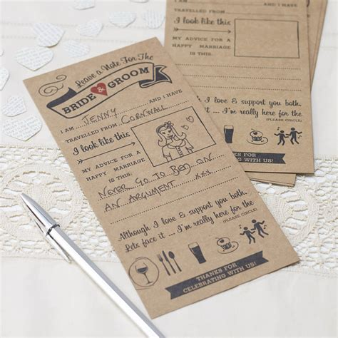 kraft advice cards for bride and groom card game by