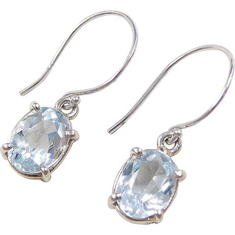 vintage 14k white gold 3 50 ctw aquamarine earrings from