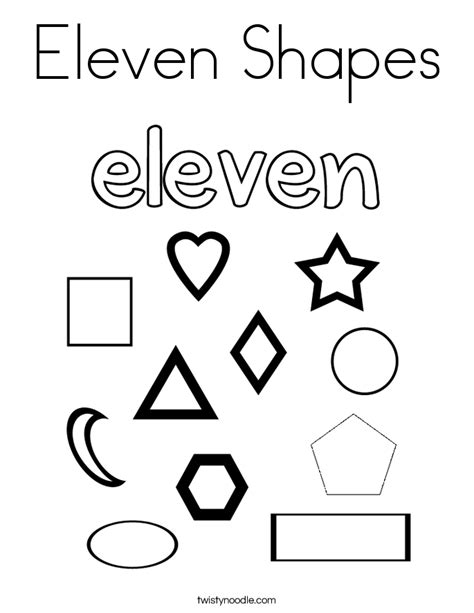 Eleven Shapes Coloring Page Twisty Noodle Coloring Pages 11