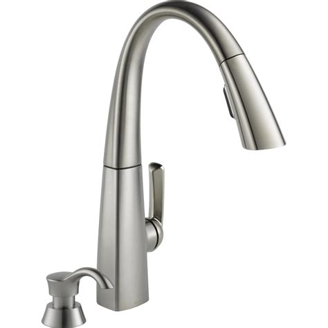 delta stainless steel kitchen faucet shop delta arc stainless steel 1 handle pull kitchen faucet at lowes