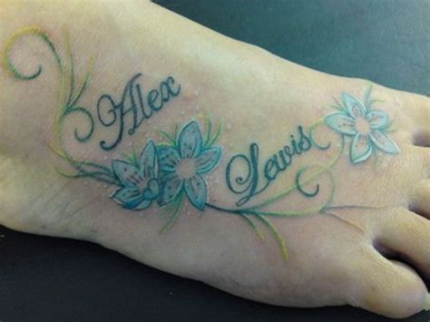 lewis name tattoo design tattoos on the foot with flowers and names name flower