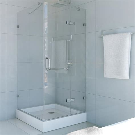Frameless Pivot Glass Shower Doors Vigo Monteray 32 375 In X 79 25 In Frameless Pivot Shower Door In Brushed Nickel With Clear