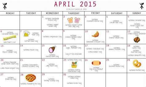 Calendar Of National Days National Food Day Calendar April 2016 Calendar