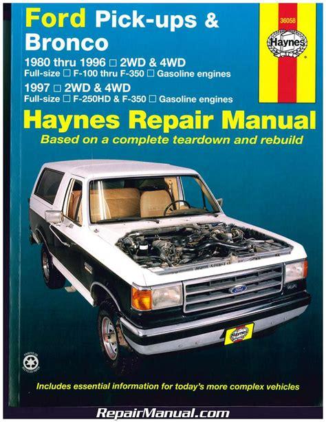 service manual car repair manuals online free 1997 volkswagen passat windshield wipe control ford pickup trucks bronco 2wd 4wd 1980 1997 haynes auto repair manual