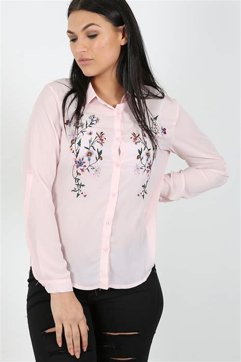Blouseoutfit Galery Top womens chiffon embroidered floral shirt blouse collared dress top ebay