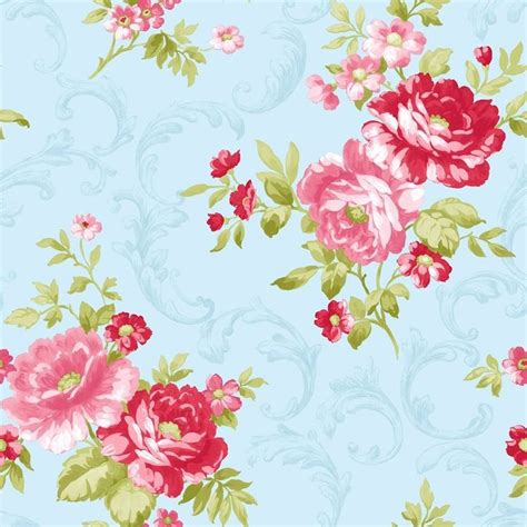 shabby chic vintage floral wallpaper blue pink