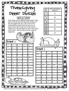 printable division games for 4th grade thanksgiving color by number division worksheets